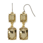 Monet® Light Brown Crystal Gold-Tone Double-Drop Earrings