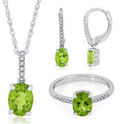 Genuine Peridot and Diamond Accent Sterling Silver Drop Jewelry