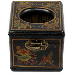 Oriental Furniture Lacquer Cube Tissue Box Cover