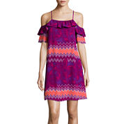 Stylus™ Short-Sleeve Cold-Shoulder Flutter Dress - Tall