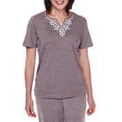 Alfred Dunner® Acadia Short-Sleeve Beaded-Yoke Top