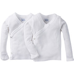 Gerber® 2 Pack Long SLeeve White Side Snap Shirt with Mitten Cuff
