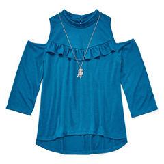 Arizona 3/4 Sleeve High Neck T-Shirt-Big Kid Girls