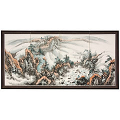 Oriental Furniture Mountaintop Landscape Wall Sculpture