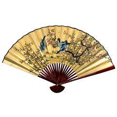 Oriental Furniture Gold Leaf Birds & Flowers Fan Wall Sign