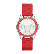 Womens Crystal-Accent Multifunction-Look Silicone Strap Watch