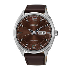 Seiko® Recraft Mens Brown Calfskin Strap Automatic Watch SNKN49