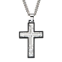 Inox® Mens Stainless Steel Black Rim Cross Pendant Necklace