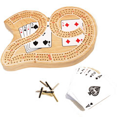 29 Wood Cribbage W Playing Cards & Metal Pegs