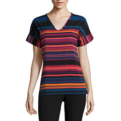 Worthington Short Sleeve V Neck T-Shirt-Womens
