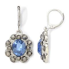 Monet® Blue Glass & Marcasite Drop Earrings
