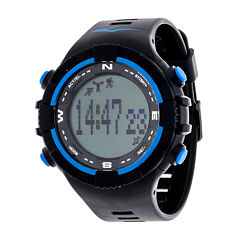 Everlast Black and Blue Pedometer Watch