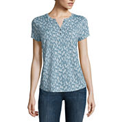 Liz Claiborne® Short-Sleeve Cotton Henley Tee