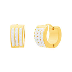 Yellow Stainless Steel Freshwater Pearl Huggie Earrings