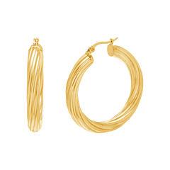 Yellow IP Stainless Steel Textured Hoop Earrings