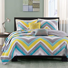 Intelligent Design Ariel Chevron Quilt Set