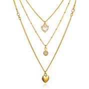 Mixit™ Crystal Heart 3-Row Layered-Look Necklace