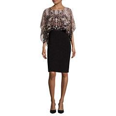 SL Fashions Dolman-Sleeve Cape Overlay Sheath Dress