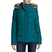 St. John's Bay® Faux-Fur Trim Puffer Coat - Tall