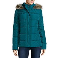 St. John's Bay® Faux-Fur Trim Puffer Coat