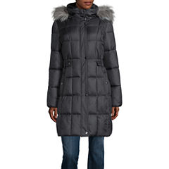 Liz Claiborne® Sidetab Puffer with Fur Collar