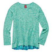 Arizona Long-Sleeve Ribbed Knit Flannel-Back Top - Girls 7-16