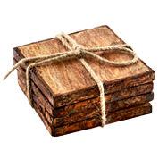 Thirstystone® Urban Farm Set of 4 Square Mango Wood Stump Coasters