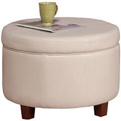 Round Faux-Leather Storage Ottoman
