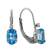 Genuine Blue Topaz and Diamond-Accent 10K White Gold Leverback Earrings
