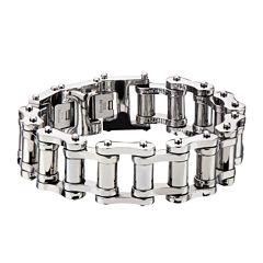 Inox® Jewelry Mens Stainless Steel Motor Chain Link Bracelet