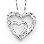 1/10 CT. T.W. Diamond Sterling Silver Double-Heart Pendant Necklace