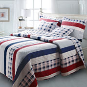 Greenland Home Fashions Nautical Stripe Coastal Quilt Set & Accessories