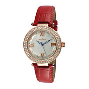 Peugeot® Womens Rose Gold Tone And Red T-Bar Leather Strap Watch 3046RD