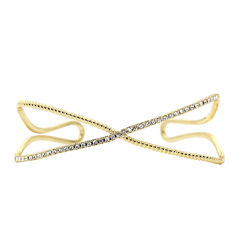 city x city® Cubic Zirconia Gold-Tone Brass X Bangle