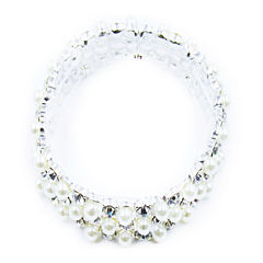 Vieste® Silver-Tone Simulated Rose Pearl & Crystal Stretch Bracelet