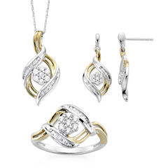 Diamond Blossom 1/4 CTTW Diamond Ring, Pendant and Earring in Sterling Silver with 14k Gold over Silver Accent
