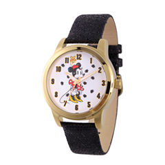 Disney Minnie Mouse Womens Black Strap Watch-Wds000262