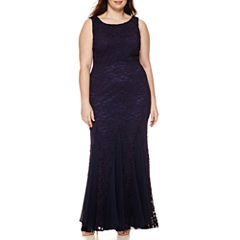 Melrose Sleeveless Lace Chiffon Gown - Plus