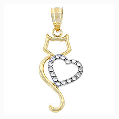 14K Two-Tone Gold Cat & Heart Charm Pendant