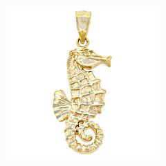 14K Yellow Gold Seahorse Charm Pendant