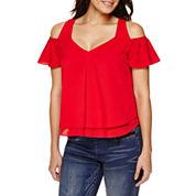 Bisou Bisou® Short-Sleeve Cold-Shoulder Layered Flare Top