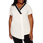 Worthington® Short-Sleeve Embossed Neck Tunic - Plus