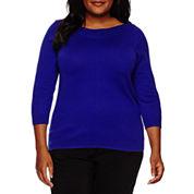 Worthington® 3/4-Sleeve Pointelle-Trim Sweater - Plus