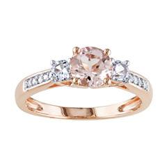 Genuine Morganite and Diamond-Accent 10K Rose Gold 3-Stone Ring