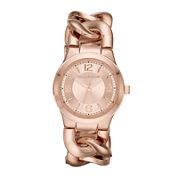 Liz Claiborne® Womens Rose-Tone Chain Bracelet Watch