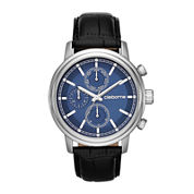 Claiborne® Mens Blue Dial Black Leather Strap Multifunction Watch