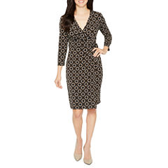 Black Label by Evan-Picone 3/4 Sleeve Wrap Dress