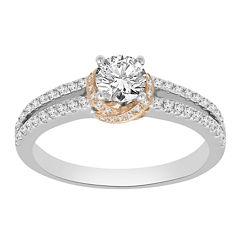 Womens 7/8 CT. T.W. Genuine Round White Diamond 14K Gold Engagement Ring