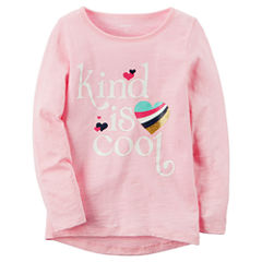 Carter's Long Sleeve Crew Neck T-Shirt-Preschool Girls