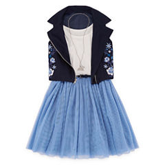 Total Girl Navy Sleeveless Moto Jacket Dress - Girls' 7-16 & Plus